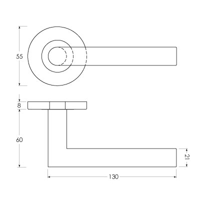 Linie 50 Aluminium - Maßzeichnung Rosettengarnitur sLINE