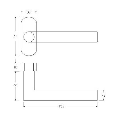 Linie 50 Aluminium - Maßzeichnung Fenstergriff sLINE