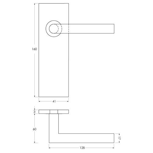 Linie 50 Aluminium - Maßzeichnung Kurzschildgarnitur kantig sLINE