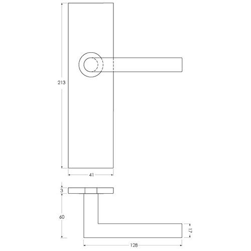 Linie 50 Aluminium - Maßzeichnung Langschildgarnitur kantig sLINE