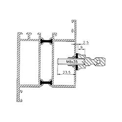 Befestigungen für Stoßgriffe von sLINE - Einzelbefestigung von vorne für Rahmentüren aus Aluminium