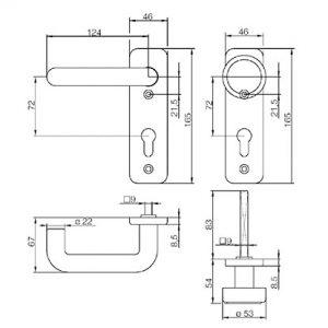 sLINE Feuerschutzgarnitur - Maßzeichnung Wechselgarnitur 12410WE