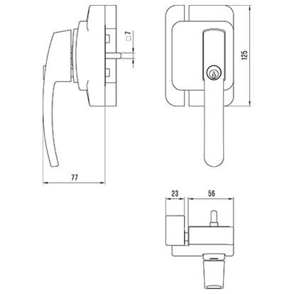 sLINE Fenster-Zusatzschloss Maßzeichnung