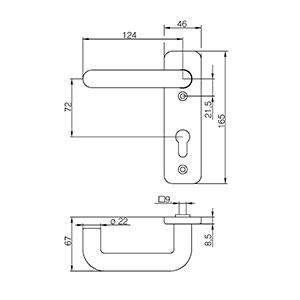 sLINE Feuerschutz-Kurzschildgarnitur Kunststoff 12410PZ Zeichnung