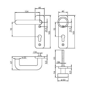 sLINE Feuerschutz-Kurzschildgarnitur Kunststoff 12410WE Zeichnung